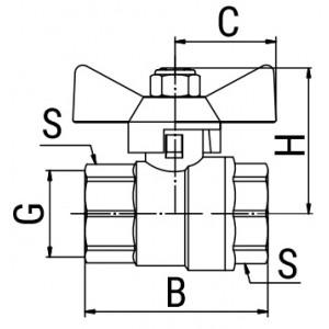 Кран шаровой OPTIMA, ручка-бабочка (внутр.-внутр.)