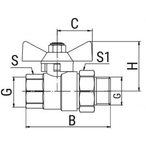 Кран шаровой OPTIMA, с американкой, ручка-бабочка (внутр.-наруж.)