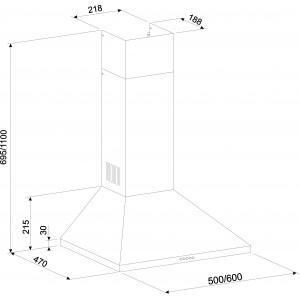 Вытяжка кухонная ZORG TECHNOLOGY Kvinta 750 50 M черная