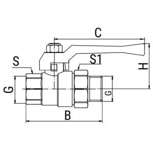 Кран шаровой OPTIMA, с американкой, ручка-рычаг (внутр.-наруж.)