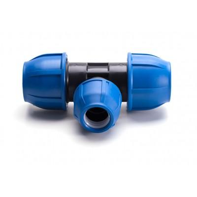 Тройник компрессионный для полиэтиленовых труб 50 x 32 x 50 (Lammin) 9/1