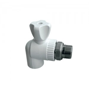 Кран шаровый полипропиленовый(ППР) радиаторный угловой 25х3/4